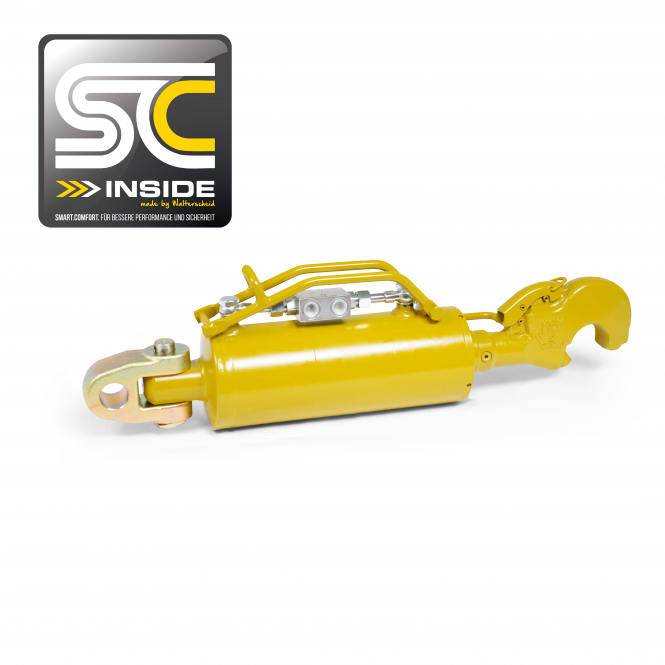 Hydraulic top link with shock absorber